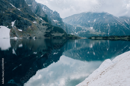 Reflection of mountains in water of Czarny Staw pond, Tatra Mountains, Poland