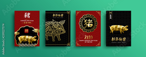 Chinese New Year of pig 2019 gold card set