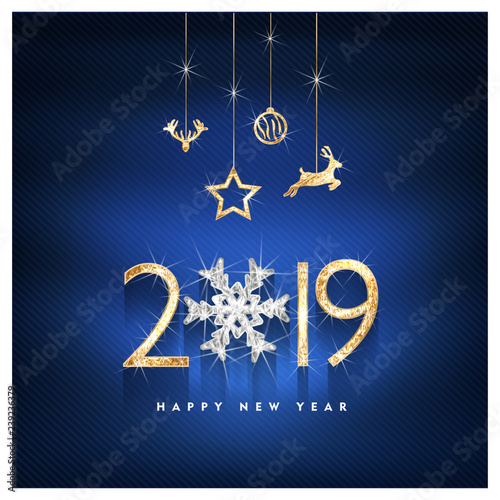 2019 Happy new year. Gold and diamond Design of greeting card. Gold Shining Pattern. Happy New Year Banner with 2019 Numbers on Bright Background. Vector illustration