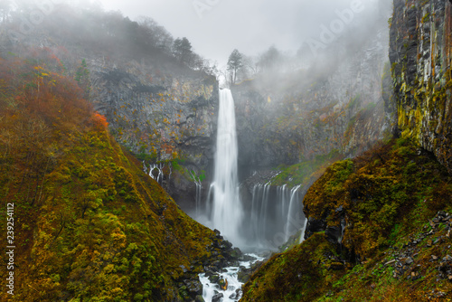 beautiful landscape with waterfall Kegon, Nikko, Japan, autumn mystical background - 239254112
