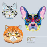 Dog and Cat low polygon design in muti color. Vector illustration. - EPS 10