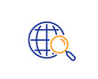 Web search line icon. Find internet results sign. Colorful outline concept. Blue and orange thin line color Web search icon. Vector