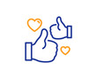 Like line icon. Thumbs up with heart sign. Positive feedback, social media symbol. Colorful outline concept. Blue and orange thin line color Like icon. Vector
