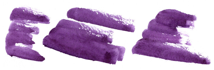 Abstract violet brush strokes - watercolor hand painted dark purple elements on white background © Galina's Tales