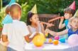 Leinwanddruck Bild - Kids at party in summer