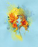 beautiful woman. fashion illustration. watercolor painting - 239285321