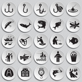 Fishing icon set on plates background for graphic and web design, Modern simple vector sign. Internet concept. Trendy symbol for website design web button or mobile app