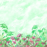 Watercolor bouquet of flowers, Beautiful abstract green splash of paint, fashion illustration. cornflower, iris, wildflowers, field or garden flowers. Watercolor abstract. Countryside landscape