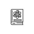 Science book outline icon. linear style sign for mobile concept and web design. Book with atom simple line vector icon. Symbol, logo illustration. Pixel perfect vector graphics