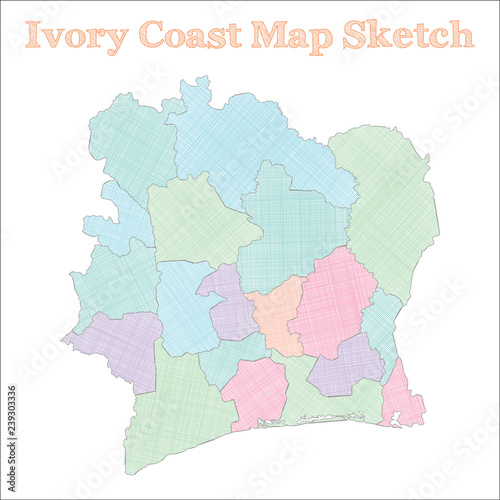 Ivory Coast map. Hand-drawn country. Delicate sketchy Ivory Coast ...
