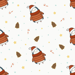 Cute Christmas penguins in hat with gingerbread, candy, stars and snowflakes vector seamless pattern on light background