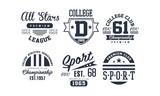 Sport college club logo design set, vintage premium championship, sport club emblem or badge vector Illustration