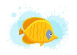 Cute fish vector illustration icons set. Tropical fish, sea fish, aquarium fish