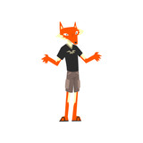 Man with fox head, animal character wearing modern clothes vector Illustration on a white background