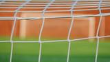 Soccer goal and field green pitch grass view through net