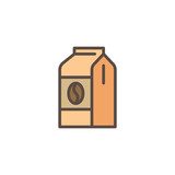 Coffee pack filled outline icon, line vector sign, linear colorful pictogram isolated on white. Coffee paper bag symbol, logo illustration. Pixel perfect vector graphics