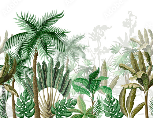 mata magnetyczna Seamless border with tropical tree such as palm, banana. Vector.