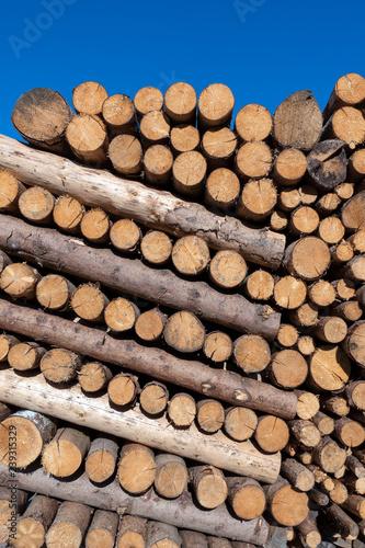 Holzstoß aus kleinen Baumstämmen, abwechselnd längs und quer gestapelt - 239315329