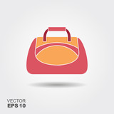 Sport bag icon in flat style with shadow