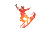 Snowboard, sport, winter, extreme, cold concept. Hand drawn isolated vector.