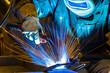Industrial steel welder in factory welder, craftsman