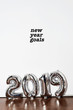 Leinwanddruck Bild - text new year goals 2019