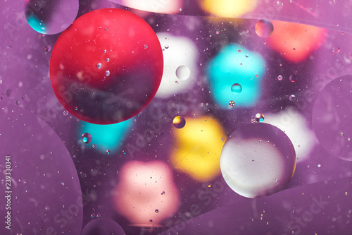 abstract background texture of colored oil droplets in the water