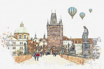illustration Charles Bridge in Prague in the Czech Republic. Hot air balloons are flying in the sky.