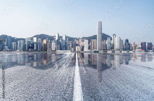 Empty road to modern city in Hong Kong