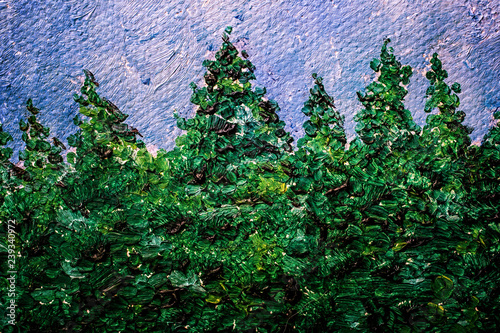 Oil painting detail of a row of conifers such as spruce.