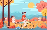 Girl riding bicycle in the autumn forest vector illustration