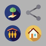 together icon set. vector set about reforestation, share, shelter and house icons set.