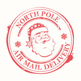 Christmas sign, stamp with blots and the silhouette of the head of Santa Claus - 239374756
