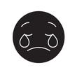 Weeping emoji emoji black vector concept icon. Weeping emoji emoji flat illustration, sign, symbol
