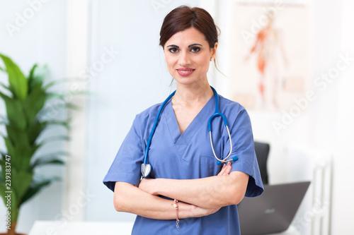 Foto Murales Portrait of a beautiful smiling nurse