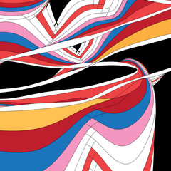 Abstract unusual vector multicolored background with different lines and waves © tanor27