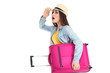 Young girl with suitcase isolated on white background