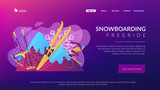 Skier and snowboarder sliding downhill in mountains. Winter extreme sports, downhill cross-country skiing, snowboarding freeride concept. Website vibrant violet landing web page template.