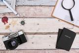 Summer Travel accessories on wooden background