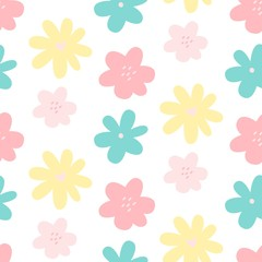 Cute flower simple minimalistic seamless pattern graphic design for paper, textile print. Floral background with hand drawn flowers. Vector illustration.