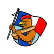 French Eagle Holding Flag and Baguette Cartoon - 239421376