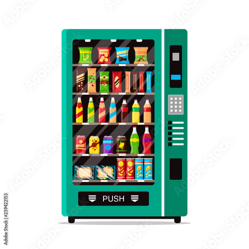 Full vending machine with fast food snacks and drinks isolated on white. Automat vendor machine front view automatic seller. Snack dispenser flat illustration in vector