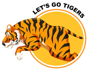 Tiger on sticker template © blueringmedia