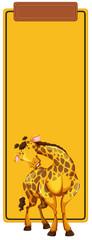 A giraffe on blank template © blueringmedia