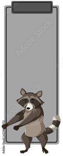 Dancing raccoon on blank template