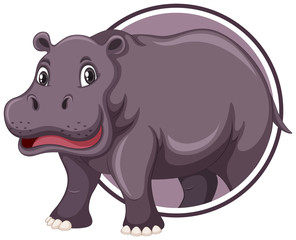 Hippopotamus on sticker template © blueringmedia