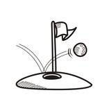 golf balls and holes hand drawn sketch