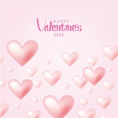 Valentine's Day Vector Design. Happy Valentine's Day with Flying Pink Hearts Isolated in Pink Background © ywouz