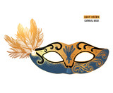 Hand drawn Venetian carnival mask with feathers - 239446558