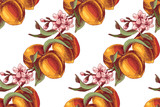 Peach branches seamless pattern - 239449541